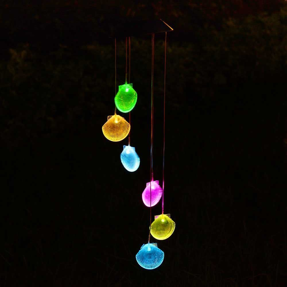 Solar Wind Chime,Sea Shells Solar Powered LED Light Vibrant Wind Chime Changing Color LED Mobile Light for Outdoor Home Garden Patio Party Wedding Shell Ornament Decor + Spinning Hook