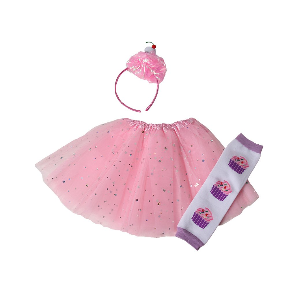 Girls Cupcake Fairy Princess Tutu, Leg Warmers & Headband Dress Up Set (Pink)