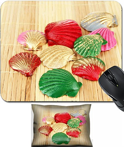 MSD Mouse Wrist Rest and Small Mousepad Set, 2pc Wrist Support design 20956594 Colorful seashells on bamboo mat ()