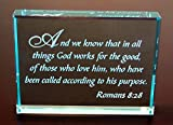 Romans 8:28 Hand Carved Etched Glass Paperweight