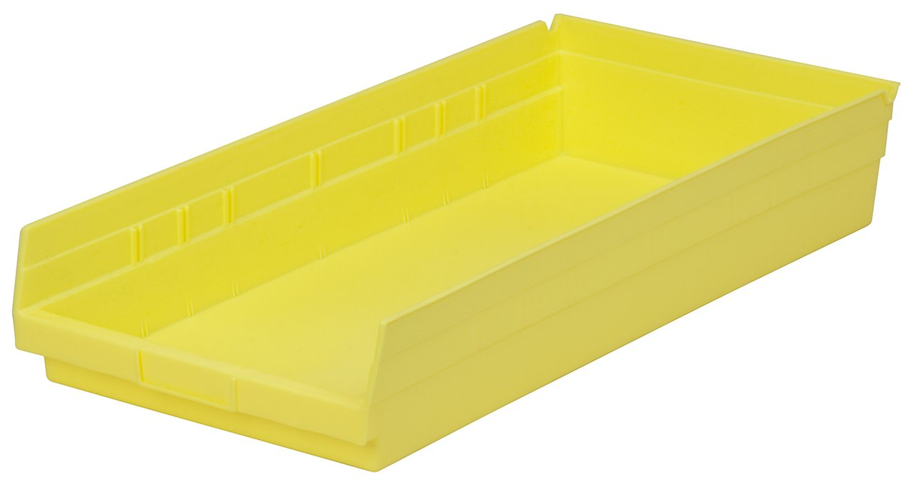 Akro-Mils 30178 18-Inch by 11-Inch by 4-Inch Plastic Nesting Shelf Bin Box, Yellow, Case of 12