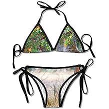 ALEISIN Cute Deer In Looking For Food Bikini Women's Summer Swimwear Triangle Top Bikinis Swimsuit Sexy 2-Piece Set
