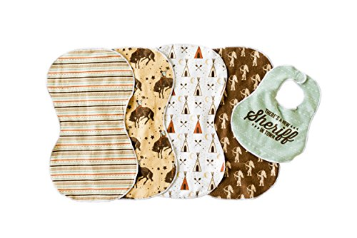 Wild West 5PK Burp Cloths for Boys- 4 Double Sided Microfiber Terry Burp Cloths and Matching Bib Set, Extra Large, For Newborns, Baby Shower Gift