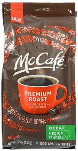 McCafe Coffee Premium Roasted Decaf Ground Coffee, Medium Roast, 12 Ounce