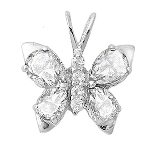 Oxford Diamond Co Cubic Zirconia & Gemstone Butterfly .925 Sterling Silver Pendant Colors Available (Clear Cubic Zirconia)