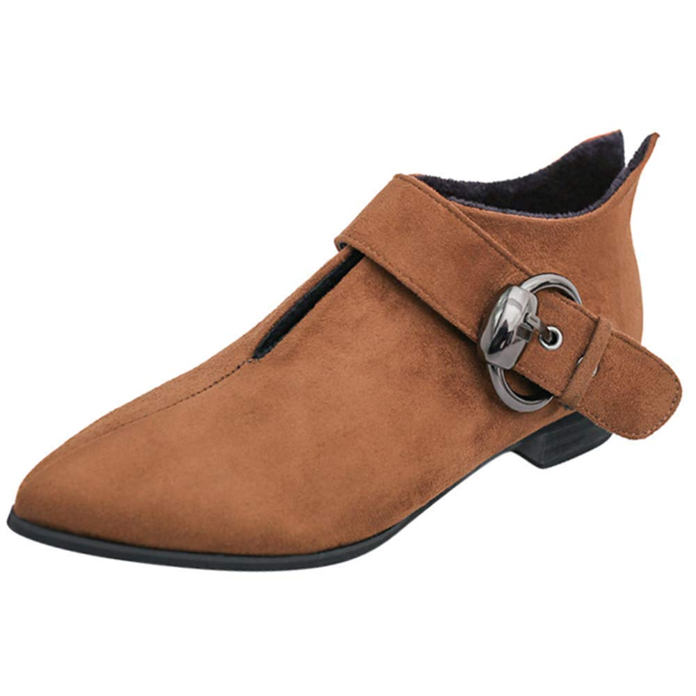 Oudan Stiefel Damen Schuhe Stiefeletten Frauen Warm Martin Stiefel Spitzschuh Gürtelschnalle Mode Stiefeletten (Farbe   Braun Größe   40 EU)