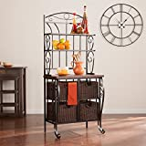 Southern Enterprises Bakers Rack in Black with Storage Baskets