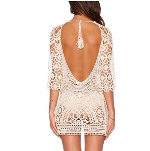 Women Summer Crochet Beachwear White - 3