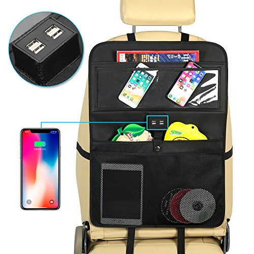 (YRCP Car Backseat Organizer, Seat Back Protectors with 4 USB Ports, 5 Multi Storage Pockets, Perfect for Kids Toys Drink Bottles (EQ-01))