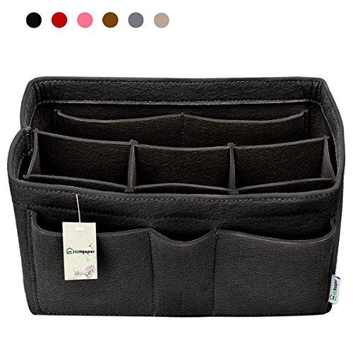 Hokeeper Felt Purse Insert Organizer, Handbag Organizer, Bag in Bag for Handbag Purse Tote, Diaper Bag Organizer, Stand on Its Own,10 Compartments, 4 Sizes, 6 Colors (Medium, (Mm Black Handbag)