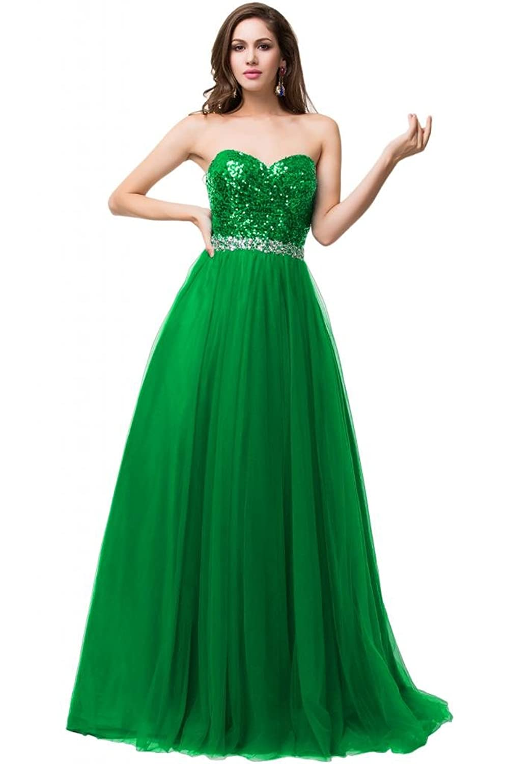 Sunvary 2015 Sweetheart A Line Paillette Crystal Prom Dresses Evening Gowns