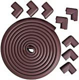 edge guard brown - Edge & Corner Guard Set - Corner Cushion Long 18.4ft Coverage Incl 8 PCS Corner Guards with 3M Tape Corners for Baby Safety, Furniture Bumper, Table Protector (Brown)