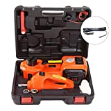 KINGCAV 5 Ton (11000lb) Car Floor Jack Electric Hydraulic Jack Trunk, 3 Functions Emergency Tire Lift Kit Air Compressor and Tire Gauge, Electric Tire Impact Wrench