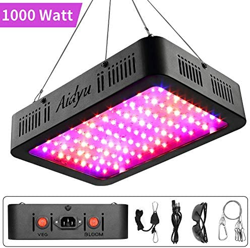 Aidyu 1000W LED Grow Light, Full Spectrum Growing Lamps for Indoor Hydroponic Greenhouse Plants with Veg and Bloom Switch, Dual Chips, UV IR, Adjustable Rope Hanger