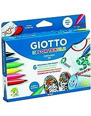 Giotto 494800 Decor Textile Pennarelli, 1-3 mm, Confezione da 6