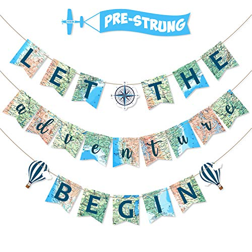 Let the Adventure Begin Banner Adventure Awaits Bon Voyage Map Banner for Travel Themed Birthday Baby Shower Graduation Retirement Job Career Change Farewell Party Decorations Supplies Pre Strung & Ready to Hang -