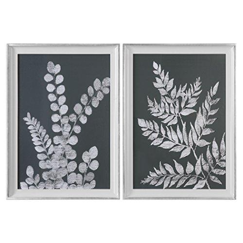 Pair Black White Leaf Wall Art Prints  