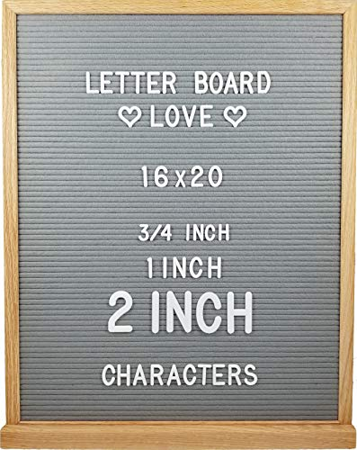 Oak Frame Felt Letter Board with Letters (16