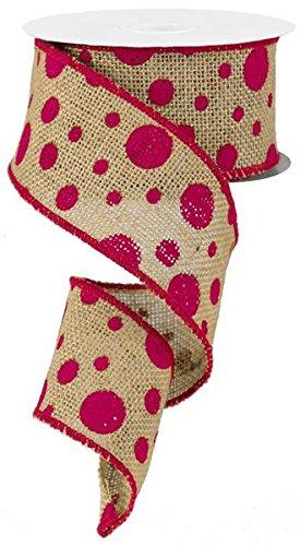 Polka Dot Burlap Ribbon, 10 Yards (Fuchsia)