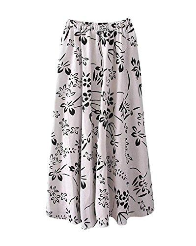 Femme Lin Imprim Floral t Boho Littrature Et Art Style Taille lastique Swing Longue Jupe t Plage Voyager A Line Grande Taille Jupe Longue Maxi Color 1