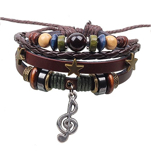 Music Note Pendant 3 Stars Alloy Wood Beaded Hand Braided Multi Strand Brown Leather Adjust Wristband