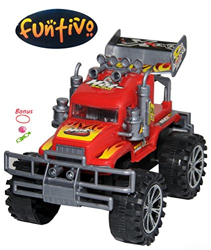 k – Truck Game Crushes Cars and Good Stocking Stuffers, Monster Truck Jam – (Random Colors, either red or blue) (Monster Truck Jumping Cars)