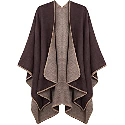 Urban CoCo Women's Color Block Shawl Wrap Open Front Poncho Cape (Series 7-Coffee)