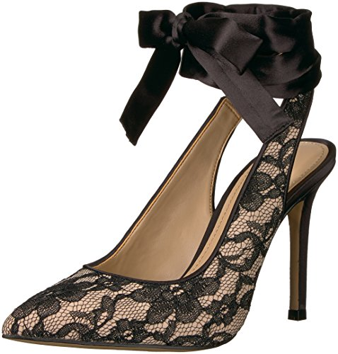 The Fix Women's Jillian Sling Back Pointed Toe Lace-up Pump, Black/Nude Lace, 8.5 B US ()
