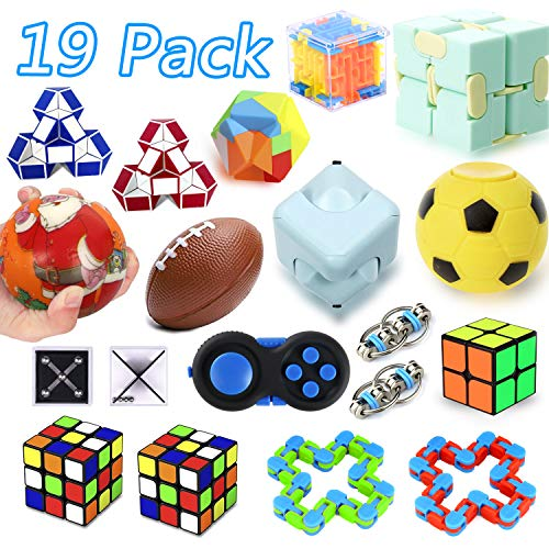 19 Pack Sensory Fidget Toys Set, Party Favor Christmas Toy Assortment, Birthday Party, School Classroom Rewards, Carnival Prizes, Pinata Fillers and Goodie Bags Fillers for ADHD Autism Stress Anxiety