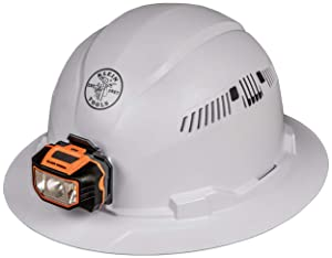 Klein Tools 60407 Hard Hat with Light, Vented Full Brim Style, Padded, Self-Wicking Odor-Resistant Sweatband, White