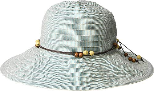 (San Diego Hat Company Women's RBM5572 - Medium Brim Ribbon Hat with Wooden Bead Trim Teal One Size )