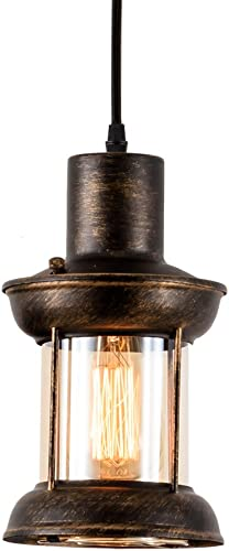 MOONKIST Industrial Pendant Lamp 1-Light Droplight Vintage Ceiling Lighting with Glass Shade Adjustable Hanging Height E26 Edison Bulbs Modern Fixture Chandelier Oil Rubbed Bronze Finish No Bulb