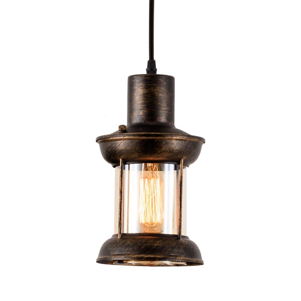 MOONKIST Industrial Pendant Lamp 1-Light Droplight Vintage Ceiling Lighting Glass Shade Adjustable Hanging Height E26 Edison Bulbs Modern Fixture Chandelier Oil Rubbed Bronze Finish (No Bulb)