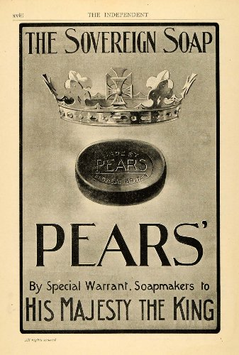 1902 Ad Pears Soap Royalty Crown King Majesty Hygiene - Original Print Ad from PeriodPaper LLC-Collectible Original Print Archive