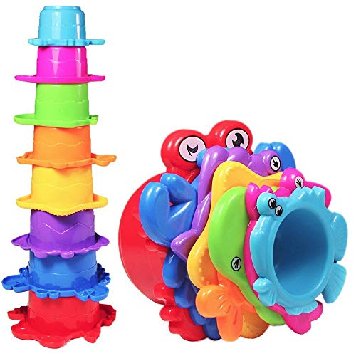 NEEDOON My First Stacking Cups,Educational Cup Toy Kids Sea Animals,Bath & Sand Stacking Cups ( 8 pcs )