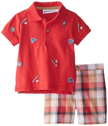 Blueberi Boulevard Baby Boys' 2 Piece Baseball Plaid Short Set, Orange/Red, 24 Months