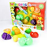 YOYOSTORE 7 in 1 Pretend Role Play Kitchen Fun Cutting Fruits Vegetables Food Playset for Kids Cutable Velcro Sliceable Realistic Game Toy House
