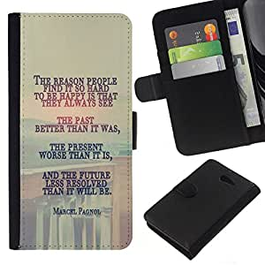 All Phone Most Case / Oferta Especial Cáscara Funda de cuero Monedero Cubierta de proteccion Caso / Wallet Case for Sony Xperia M2 // MARCEL PAGNOL - DEEP MESSAGE