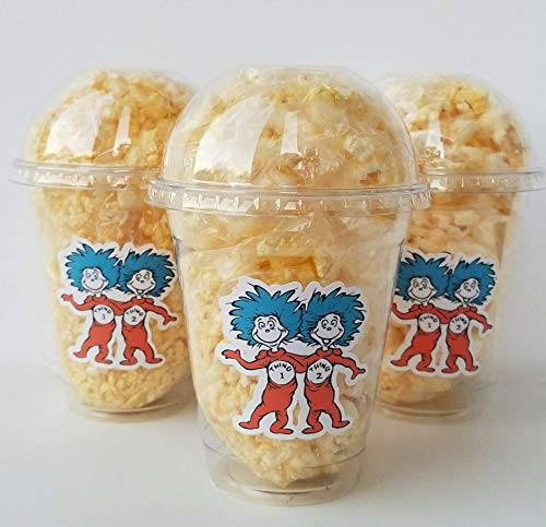 Set of 24 - Dr. Seuss PopCorn Cups, Dr. Seuss Party Cups, Dr. Seuss Decorations, Thing 1 Thing 2, Dome Lids Included