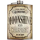 Moonshine XXX Fun Father's Day Genuine Flask -8oz Stainless Steel Flask - comes in a GIFT BOX - by Trixie & Milo