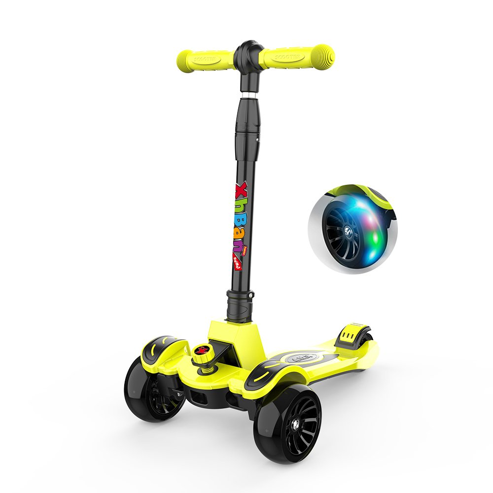 XHBAN 3-Wheel Kids Kick Scooter-Foldable with Adjustable Height T Bar-PU LED Big Flashing Wheels-Widened Anti-Skid Pedal-Ultimate Children's Best Birthday Present for 3-15 Years Old (Apple Green.)