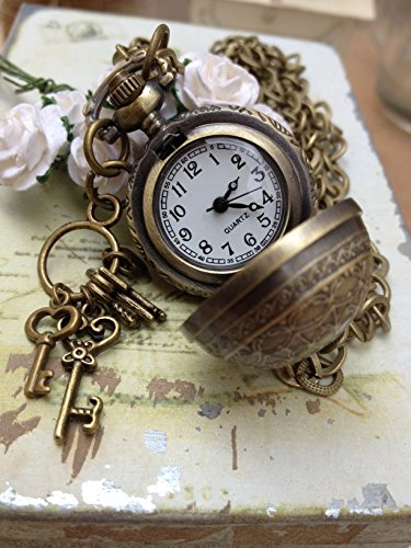 Vintage Jewelry - Time for Romance Vintage Bronze Petite Ball Cobweb Locket Watch Necklace with Vintage Key Charms - Boxed & Gift Wrapped