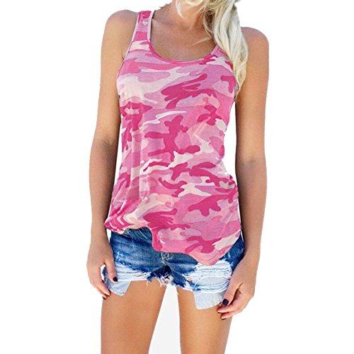 camouflage Blouse Veste T HAPPYSS Rose Shirt Vetements sans Dbardeurs Femme Taille Femme Fashion Printemps Grande Chemise lgant Tank Femme Ete Manche 5UUgZnBA