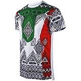 SCREENSHOTBRAND-S11837 Mens Hipster Hip-Hop Premium Tees - Stylish Longline Fashion T-Shirt Dashiki African Color Block-White-Medium