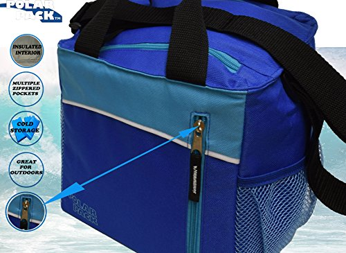 POLAR PACK 14 Can Double Handle Grab & Go Soft Insulated Cooler Bag Zipper Pockets Insulated Picnic Bag Outdoor Indoor Travel Lunch Bag for Sports Home Travel & Camping (ROYAL/TURQ/BLACK) (Gourmet Picnic Baskets To Go)