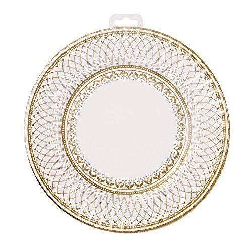 (Talking Tables Party Porcelain Large Party Plates (16 Pack), Gold)