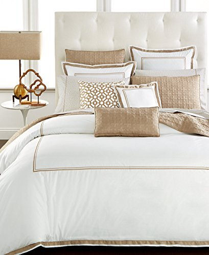 Hotel Collection Queen Embroidery Frame Duvet Cover White Champagne $300 (Embroidered Frame)
