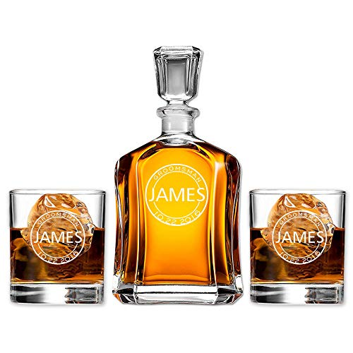 (Groomsmen Gift Set Personalized Decanter with Scotch Whiskey Glasses Perfect for Wedding Favors)