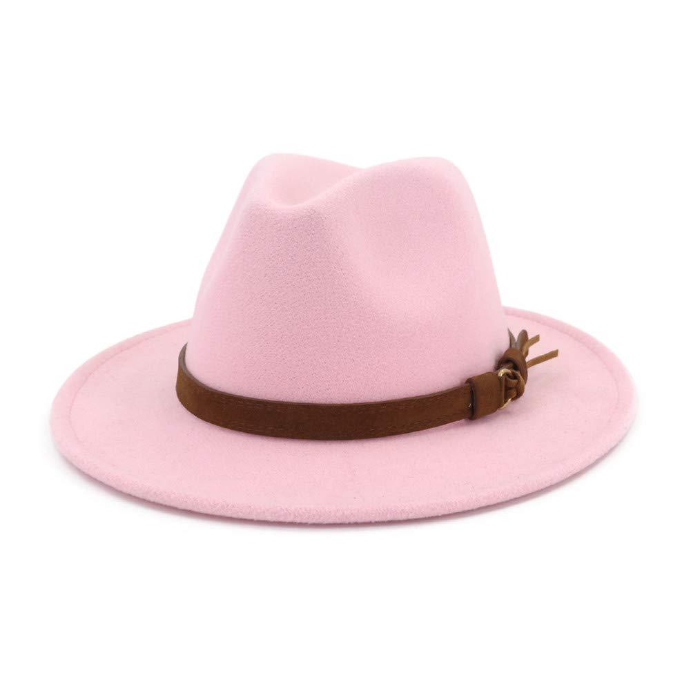 Vim Tree Unisex Wide Brim Felt Fedora Hats Men Women Panama Trilby Hat with Band Pink M (Hat Circumference 22''-22.8'')