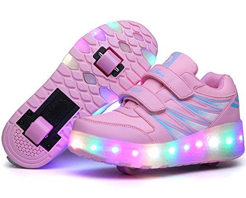 ECOTISH Unisex Kinder LED Roller Schuhe Skate Trainer Boy Girl Blinkende Rollschuh Schuhe Einstellbare Rollerblades mit 2 Rollen Rosa